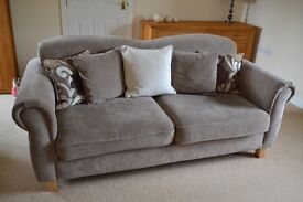 3 Seater Sofa x 2 also with Storage Foot Stool and 4 Cushions