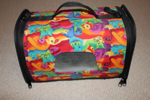 """Fabric covered pet carrier 9"""" (W)x13"""" (L)x9"""" (H), vinyl interior"""