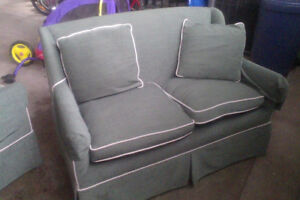 Compact love seat and chair in forest green, excellent condition
