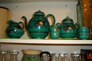 vintage green chinese dragon tea set
