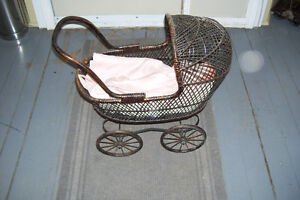 1800s PLASTER DOLL WITH PERIOD WICKER DOLL CARRIAGE London Ontario image 9