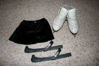 figure skates size 1 and 1.5 and skating skirt