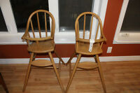 Two Wooden High Chairs, perfect for twins!