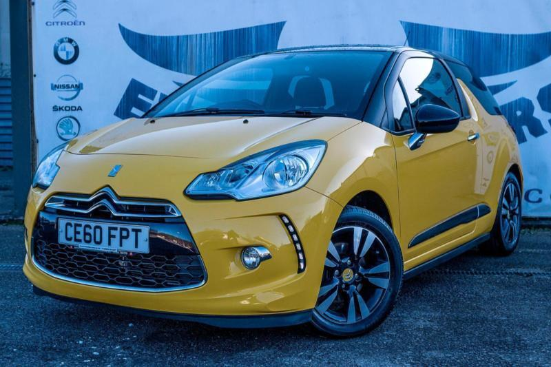 2010 citroen ds3 1 6 dstyle stunning yellow and black with daytime running light in cardiff. Black Bedroom Furniture Sets. Home Design Ideas