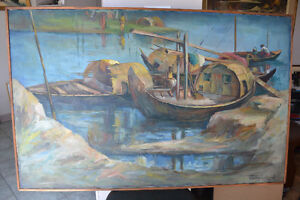 VINTAGE LARGE OIL ON CANVAS PAINTING 31 X 49 INCHES