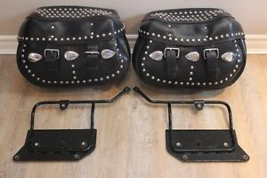 softail saddle bags and windshield and sportster parts