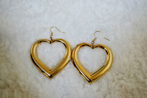 Gold oversize puffy heart dangle earrings Windsor Region Ontario image 2