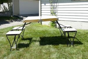 Vintage Folding Table & Bench - Collectors Item, All Metal Parts
