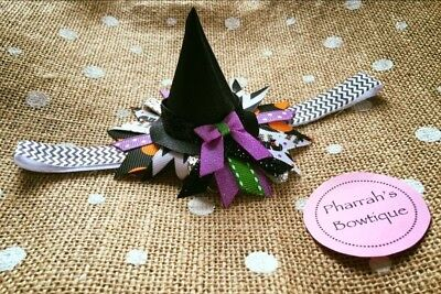 Baby Girl Witches Hat Hair Bow - Headband - Halloween Costume  - Baby Girl Witch Costumes