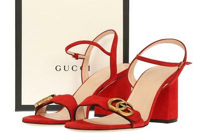 NEW GUCCI LIFFORD RED LEATHER DOUBLE G 3' HEELS SANDALS SHOES 40/US 10
