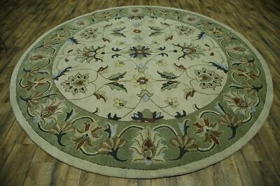 Hand-Tufted Ivory Floral Round 10x10 Oushak Agra Indian Oriental Area Rug New ()