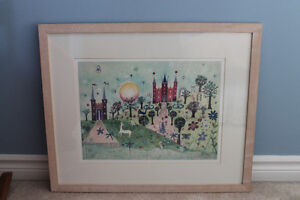 Framed Watercolour print -- Princess, castles, unicorn Kitchener / Waterloo Kitchener Area image 1