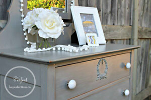 Beautifully restyled grey whitewashed dresser with great knobs