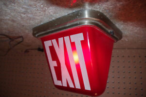 Vintage Kopp Industrial Illuminated Red Glass Exit Sign Light London Ontario image 5
