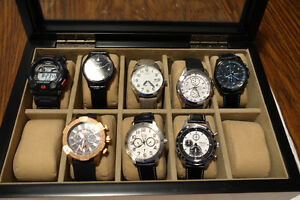 Watch collection - 8 watches plus two watch display cases