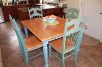Solid wood two leaf dining table w/ 4 chairs - $300 (Rothesay)