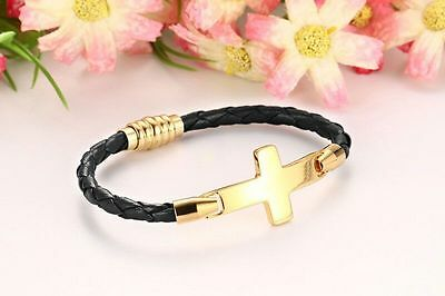 - Mens Womens Stainless Steel Gold Cross Braided Leather Bangle Bracelet +Box B270