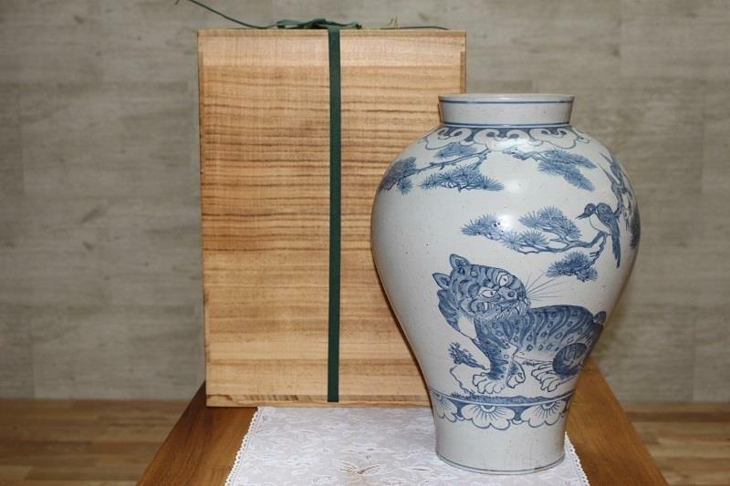 Korean Joseon Dynasty Huge Tiger Vase / H 43[cm]