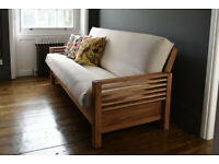Horizon - 3 Seater Sofa Bed Solid Oak with ultimate cushion/Aldeburgh cover (like new)