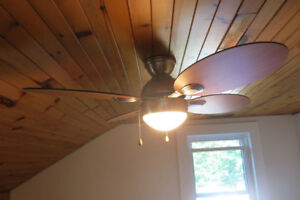 ceiling fans (2 white, 2 wooden) 50$ each