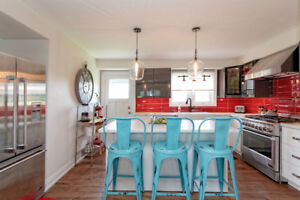 Distressed turquoise metal bar stools