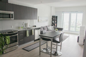 Fully Furnished Clean Modern 1BR + Den Aquilini Centre West