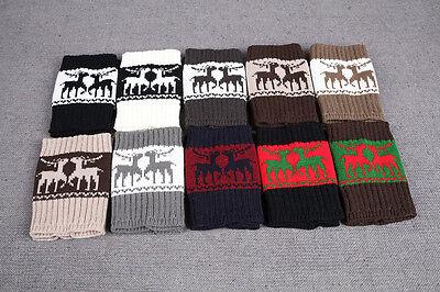 Weihnachten-Rentier Beinwärmer Geschenke Winter Damen Stulpen Strick Socken