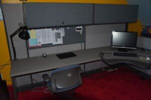 Herman Miller 9 X 8 Office Desk with overhead and 2 chairs