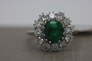 18KT White Gold Emerald Cluster Ring (#2014)