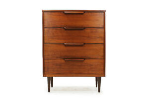 Mid-Century  Walnut Four Drawer Tallboy Dresser
