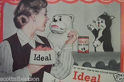 IDEAL DOG CAT FOOD BULLDOG WILSON  OLD 1951 PRINT AD