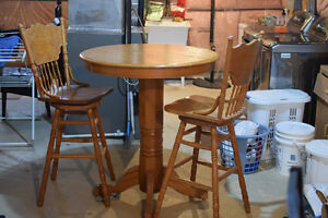 bar chairs and round table