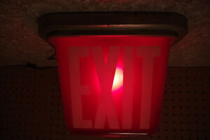 Vintage Kopp Industrial Illuminated Red Glass Exit Sign Light London Ontario image 9
