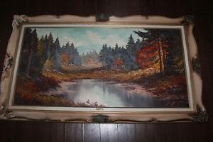 Antique Large Original Landscape Painting Signed Framed