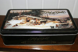 Collector Chocolate Tin with Winter Scene..good storage box