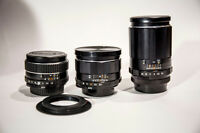 Takumar 35mm f3.5, 50mm f1.8, and 135mm f3.5 (adapted to canon)