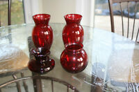 Collection of small exquisite ruby red vases