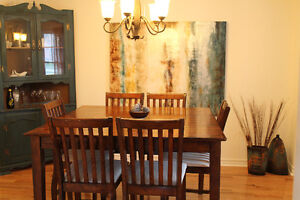 Solid Wood Counter Height Dining Table with 6 Chairs