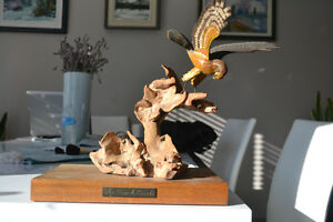 WOODEN HAWK CARWING 14 inches tall