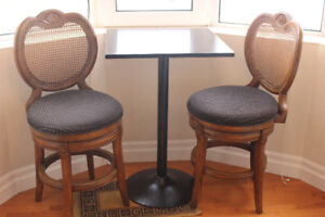 Solid Wood Bar Stools and table