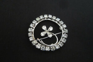 Sterling Silver and Crystal Signed Vintage Brooch