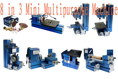 Mini Metal 8 In 3 Multipurpose Machine Lathe Machine Diy Tool Wood-turning Kit