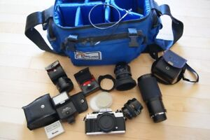 SLR camera and lenses and bag