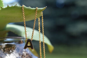 Matte Gold Plated Tiny Initial Pendant (Letter P or A) Necklace