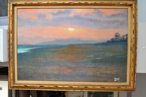 LARGE ORIGINAL OIL ON BOARD SUNRISE PAINTING 42 X 30 INCHES
