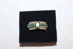 10Kt Emerald with diamonds