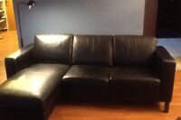 Ikea Black Leather Sectional