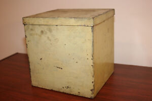 "Old/Vintage Cube Shaped Metal Box with Lid - 9""X9""X9"""