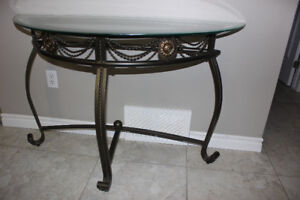 Console Glass Top Sofa Table Excellent Like New