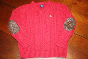 Baby GAP Red V-Neck Cable Knit Sweater